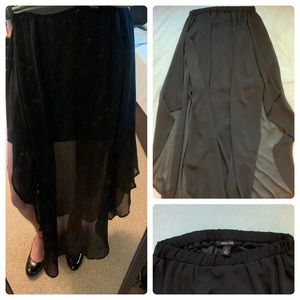 Flowing Black Double Layer Maxi Skirt